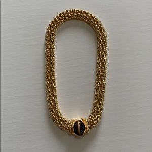 CHUNKY GOLD & TIGER EYE MAGNETIC NECKLACE.